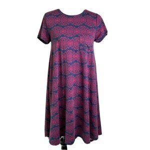 LuLaRoe Swing Dress Blue Pink Print Short XS